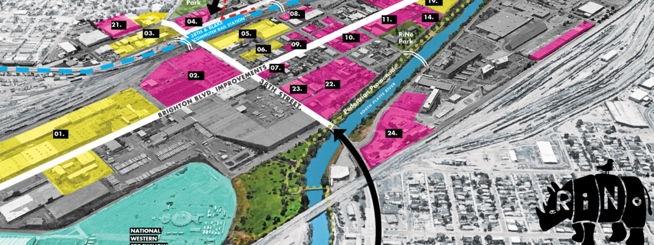 Heat map plan for RiNo, or River North, in the heart of Denver